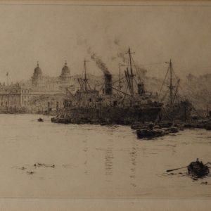 WILLIAM LIONEL WYLLIE - ETCHING - SUGAR BOATS UNLOADING AT GREENWICH REACH