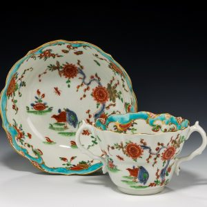 ANTIQUE WORCESTER PORCELAIN CHOCOLATE CUP AND STAND