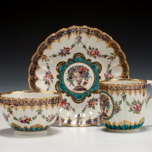 ANTIQUE WORCESTER PORCELAIN COFFEE CUP TEA CUP AND SAUCER