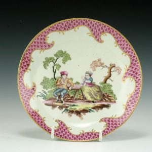 ANTIQUE WORCESTER PORCELAIN SAUCER POSSIBLY BY GILES