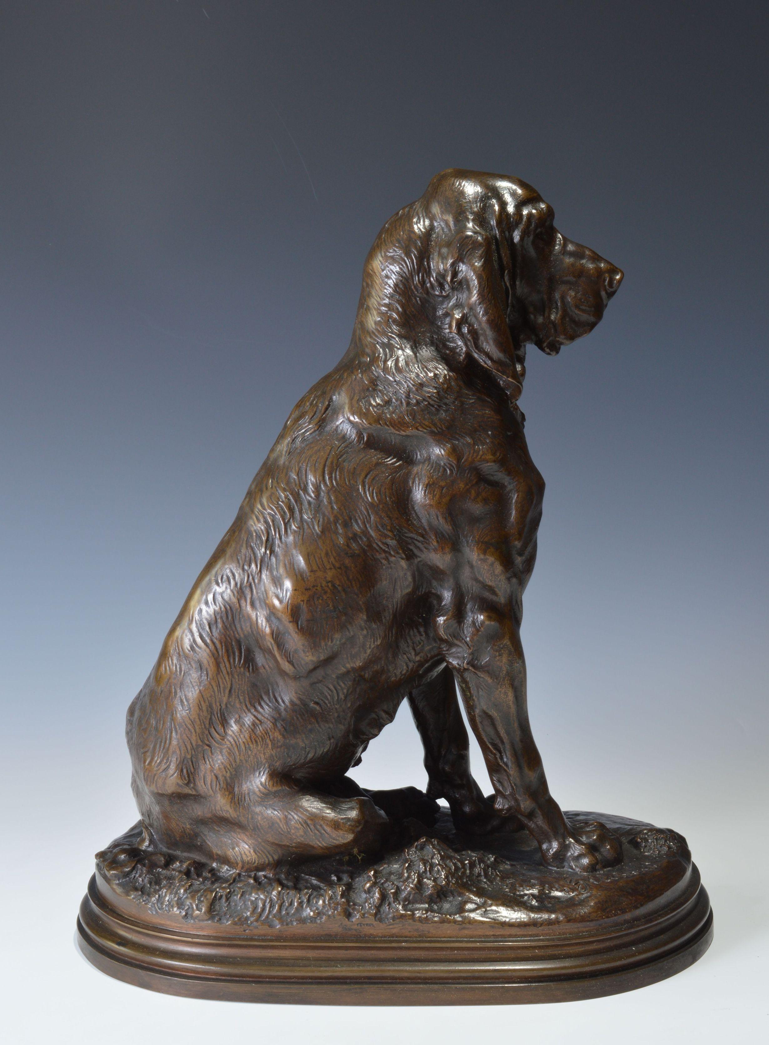 Jules Bertrand Gelibert Bronze Bloodhound Dog Druid