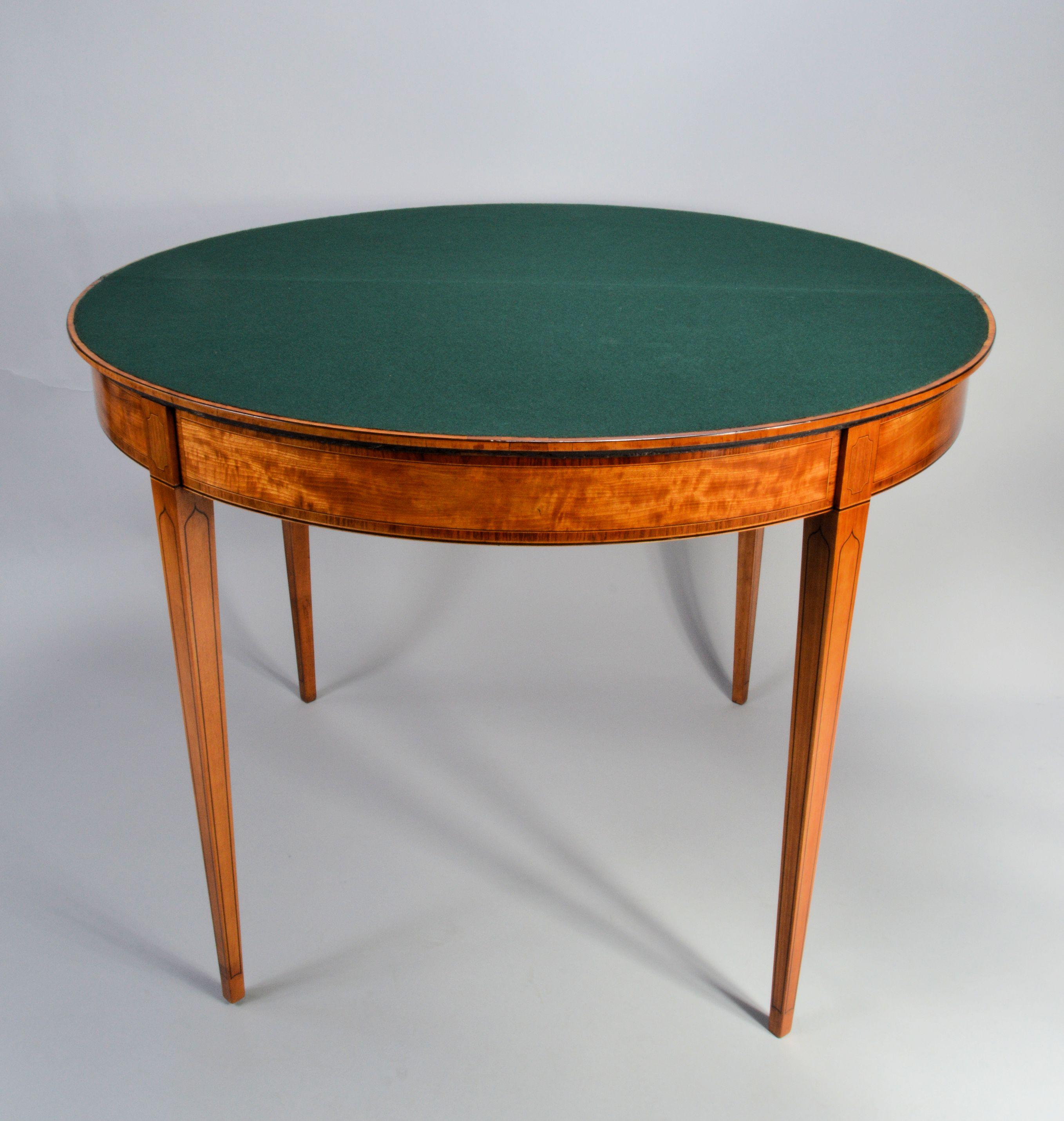 Antique George Iii Satinwood Elliptical Card Table