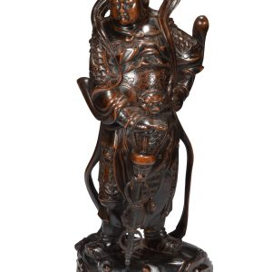 ANTIQUE CARVED WOODEN FIGURE OF WEI TUO