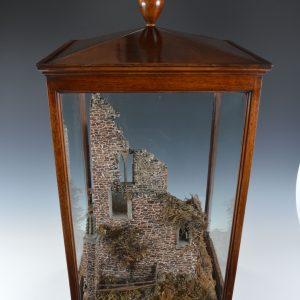 RARE ANTIQUE MAHOGANY CASED CORK MODEL OF CASTLE RUINS