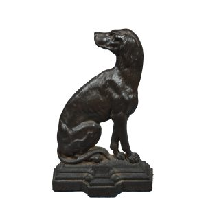 ANTIQUE WROUGHT IRON DOORSTOP SEATED DOG