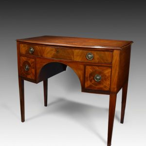 ANTIQUE GEORGE III MAHOGANY BOWFRONT DRESSING TABLE