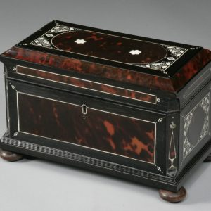 ANTIQUE EBONY TORTOISESHELL AND IVORY TEA CADDY