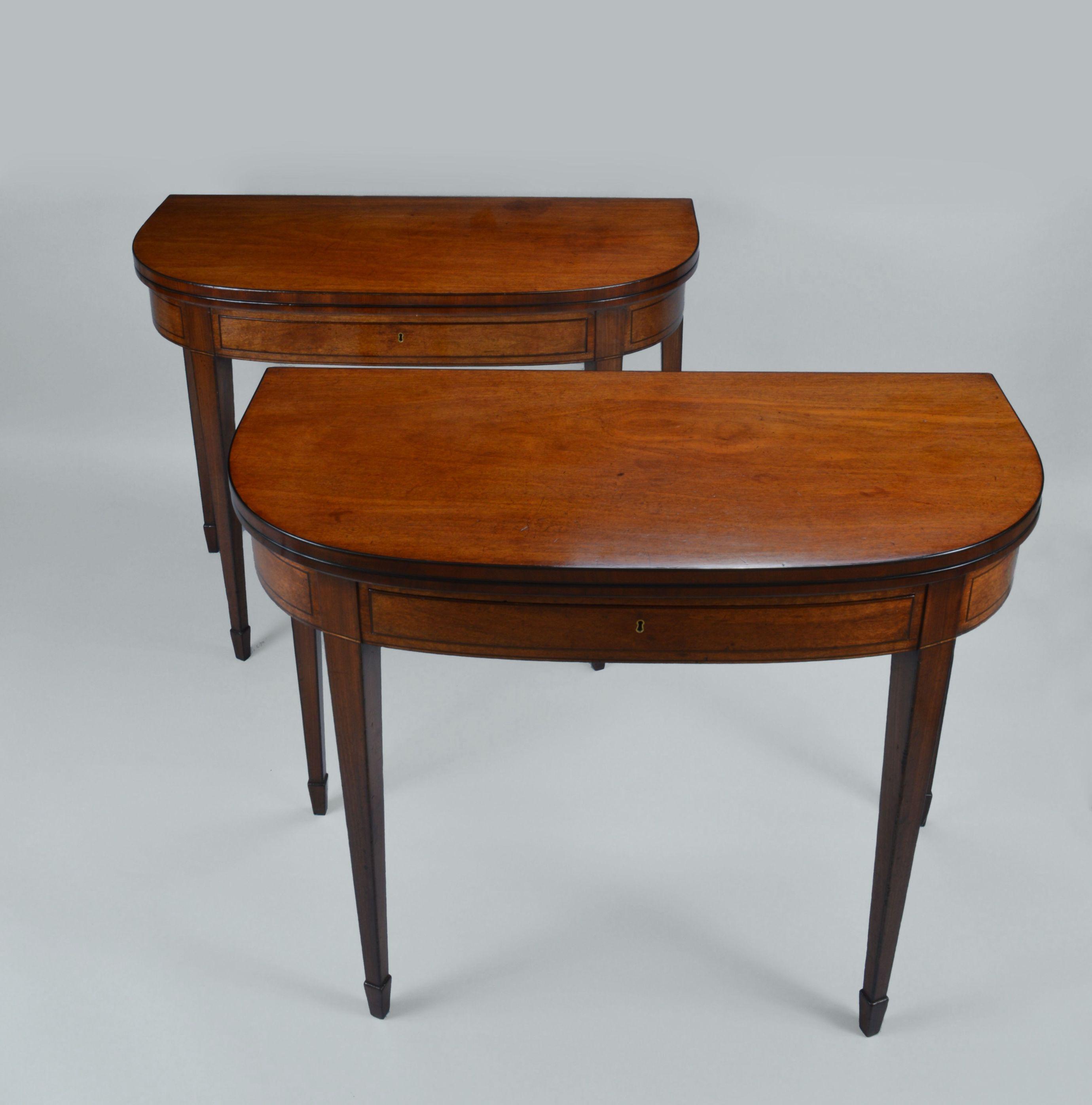 antique pair of regency mahogany foldover tables