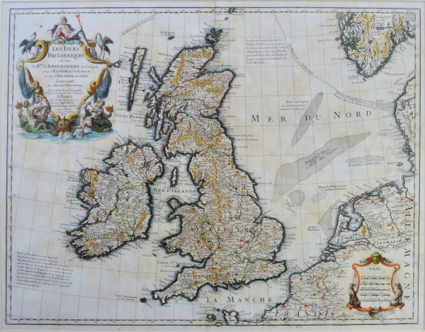 ANTIQUE FRAMED MAP-LES ISLES BRITANNIQUES ON SON LE RUE D ANGLETERRE