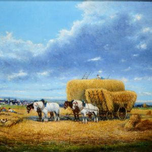 AUGUSTE SEBASTIN BENARD OIL PAINTING HAYMAKING FARM