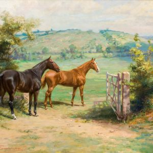 MARTIN FRANK STAINFORTH OIL PAINTING HORSES