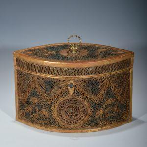 ANTIQUE 18TH CENTURY PAPER SCROLL TEA CADDY
