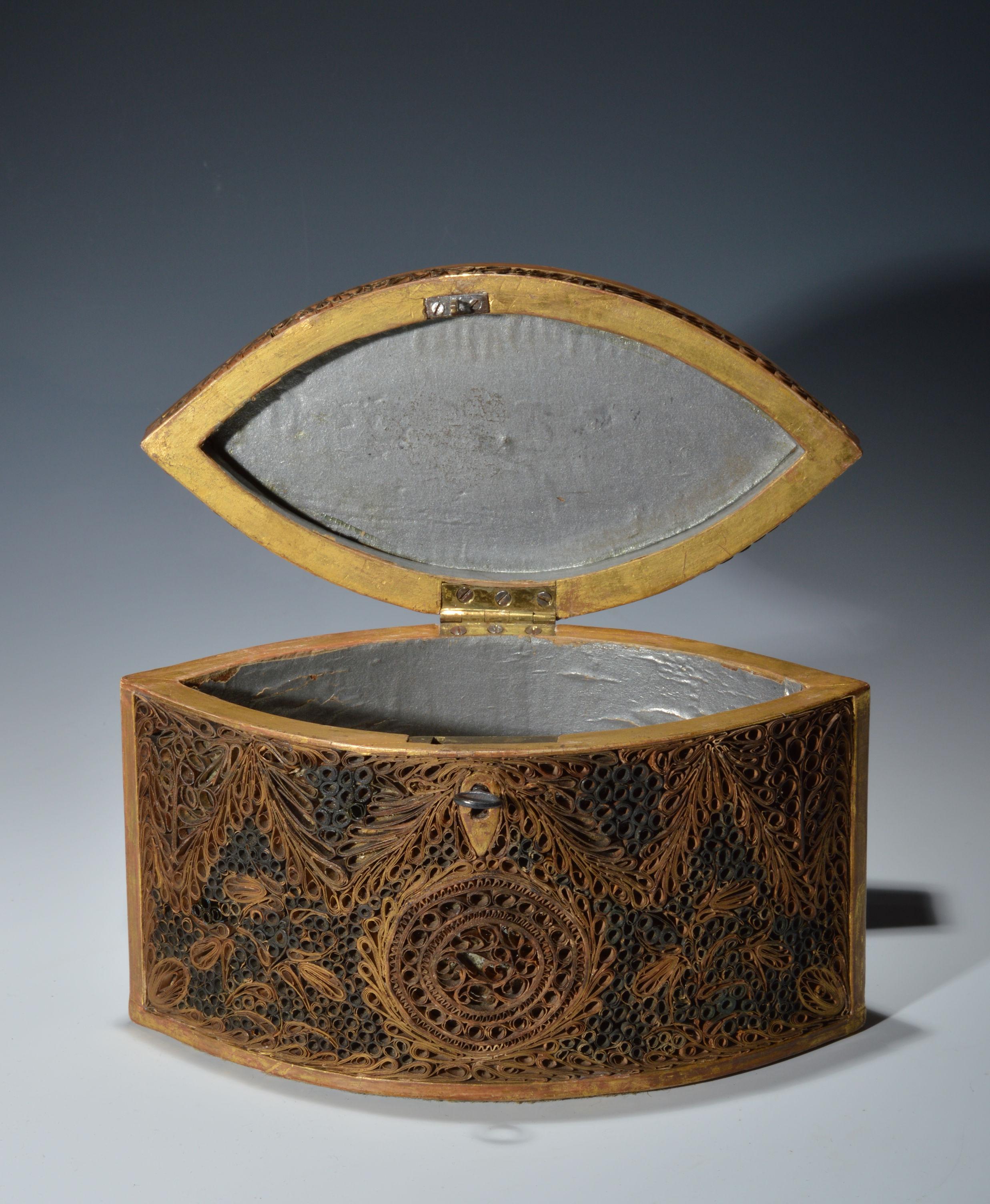Antique Scroll Paper: ANTIQUE 18TH CENTURY PAPER SCROLL TEA CADDY