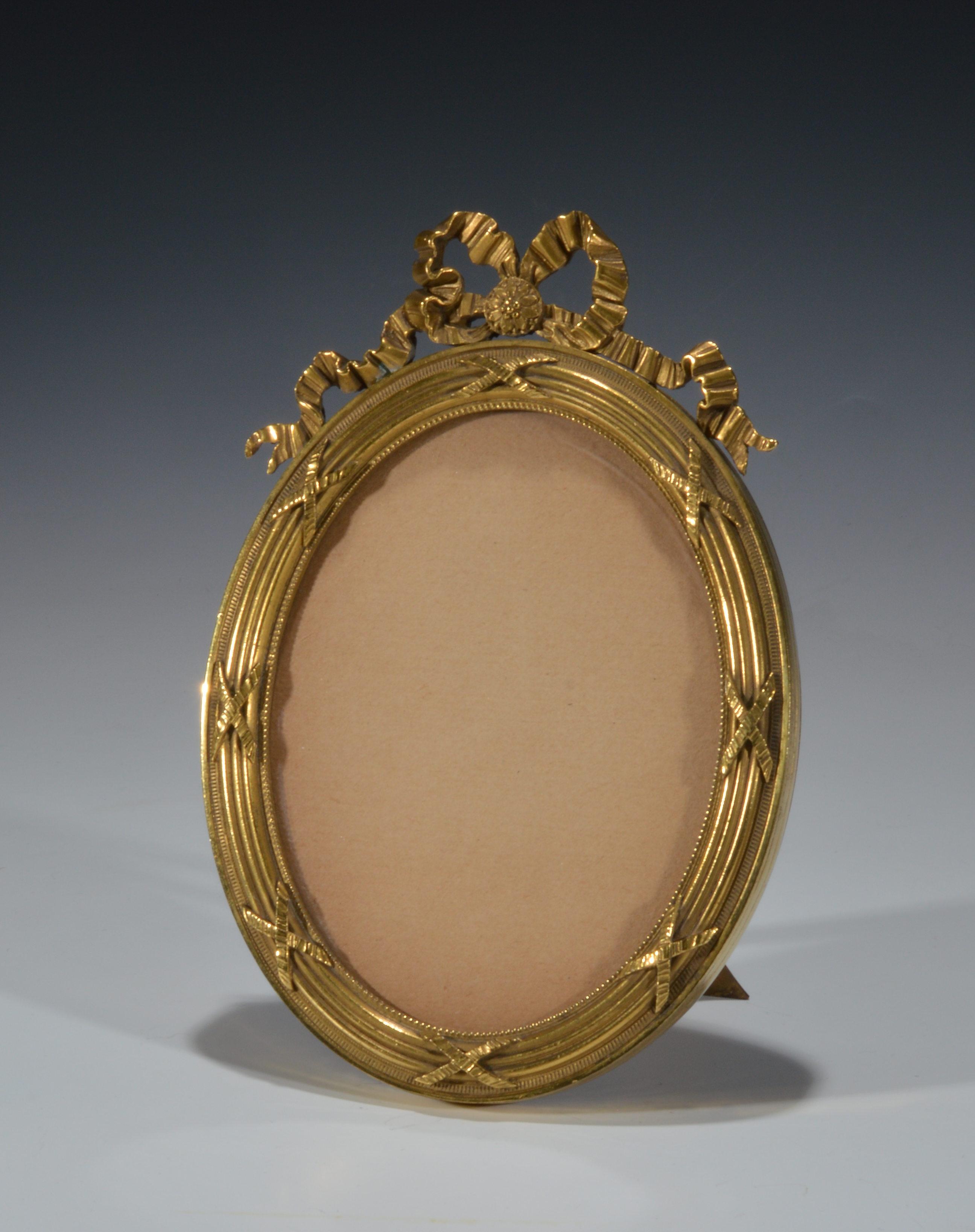Antique Oval Gilt Brass Photograph Frame