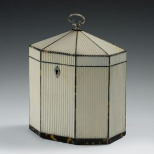 RARE ANTIQUE OCTAGONAL RIBBED IVORY TEA CADDY