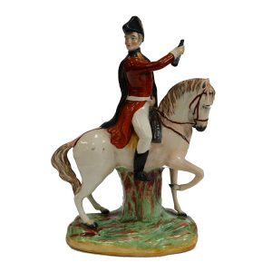 ANTIQUE STAFFORDSHIRE FIGURE OF THE DUKE OF WELLINGTON ON COPENHAGEN