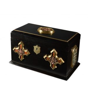 ANTIQUE EBONISED IMPERIAL MILITARY TEA CADDY
