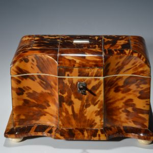 ANTIQUE TORTOISESHELL SERPENTINE FRONTED TEA CADDY