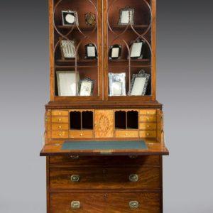 ANTIQUE GEORGE III MAHOGANY SECRETAIRE BOOKCASE WITH GLAZED TOP