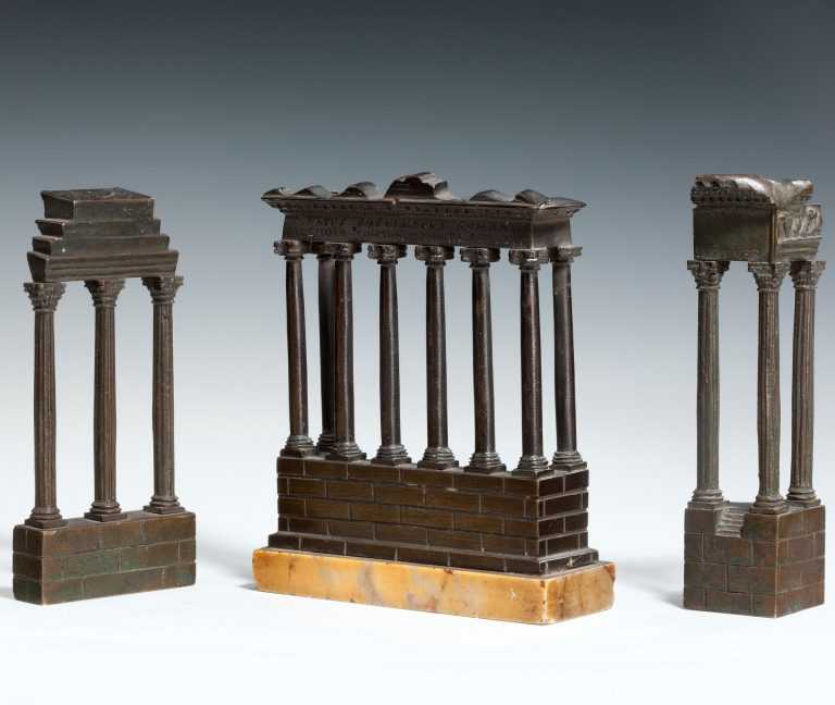 ANTIQUE BRONZE GRAND TOUR MODELS OF ANCIENT REMAINS IN ROME