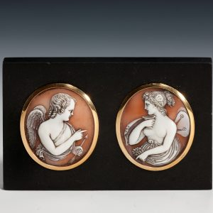 PAIR OF ANTIQUE GOLD MOUNTED CARVED SHELL CAMEOS