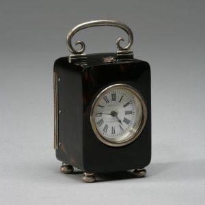 ANTIQUE TORTOISESHELL & SILVER CARRIAGE CLOCK