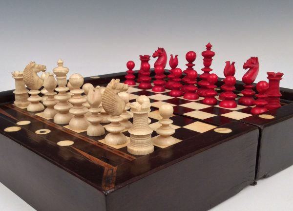 ANTIQUE MINIATURE GAMES BOARD AND IVORY CHESS SET