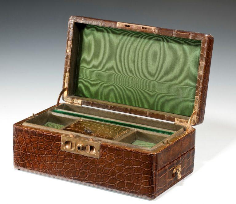 ANTIQUE CROCODILE JEWELLRY BOX