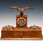 ANTIQUE BURR WALNUT AND ORMOLU DESK SET SIGNED APPAY PARIS