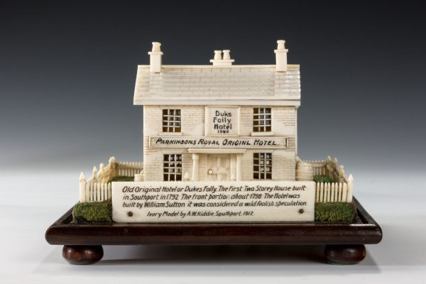 ANTIQUE IVORY MODEL OF DUKES FOLLY HOTEL SOUTHPORT BY A W KIDDIE