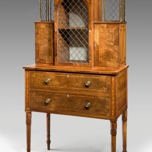 ANTIQUE REGENCY ROSEWOOD LADIES SECRETAIRE DISPLAY CABINET