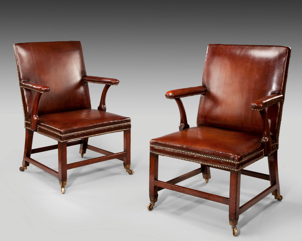 ANTIQUE PAIR OF MAHOGANY U0026 LEATHER LIBRARY ARMCHAIRS