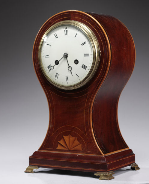 EDWARDIAN MAHOGANY BALLOON SHAPED MANTEL CLOCK