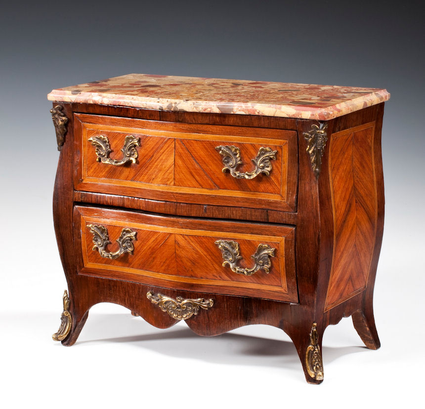 antique miniature french kingwood commode. Black Bedroom Furniture Sets. Home Design Ideas