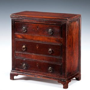 ANTIQUE MINIATURE ELM CHEST OF DRAWERS