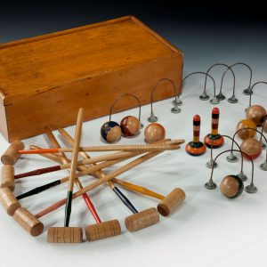 ANTIQUE MINIATURE TABLE CROQUET SET