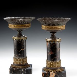PAIR OF ANTIQUE BRONZE GOTHIC URNS