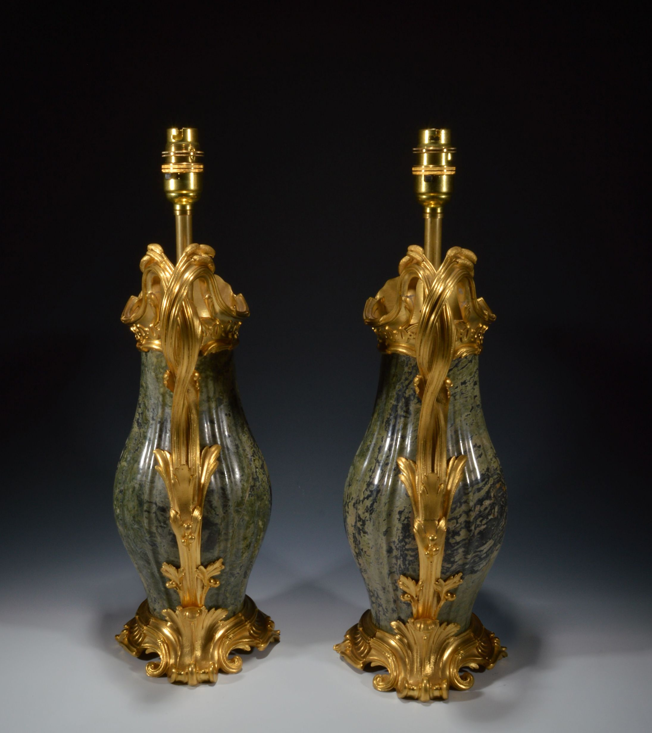 Antique Pair Of French Gilt Bronze And Marble Ewer Lamps