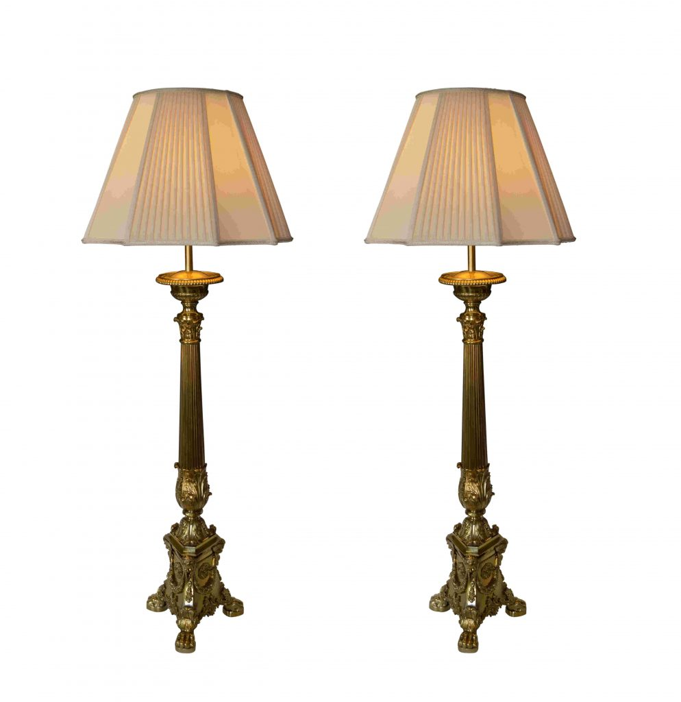 Large Antique Pair Of Brass Corinthian Column Table Lamps Richard