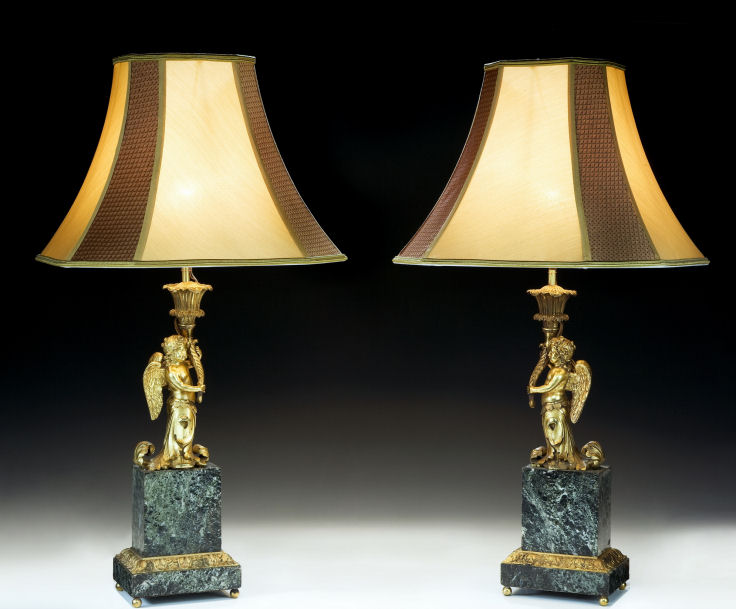 ANTIQUE PAIR OF FRENCH MARBLE & GILT BRONZE TABLE LAMPS