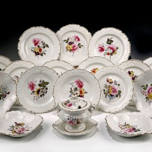 ANTIQUE ENGLISH PORCELAIN DESSERT SERVICE PAINTED FLOWERS