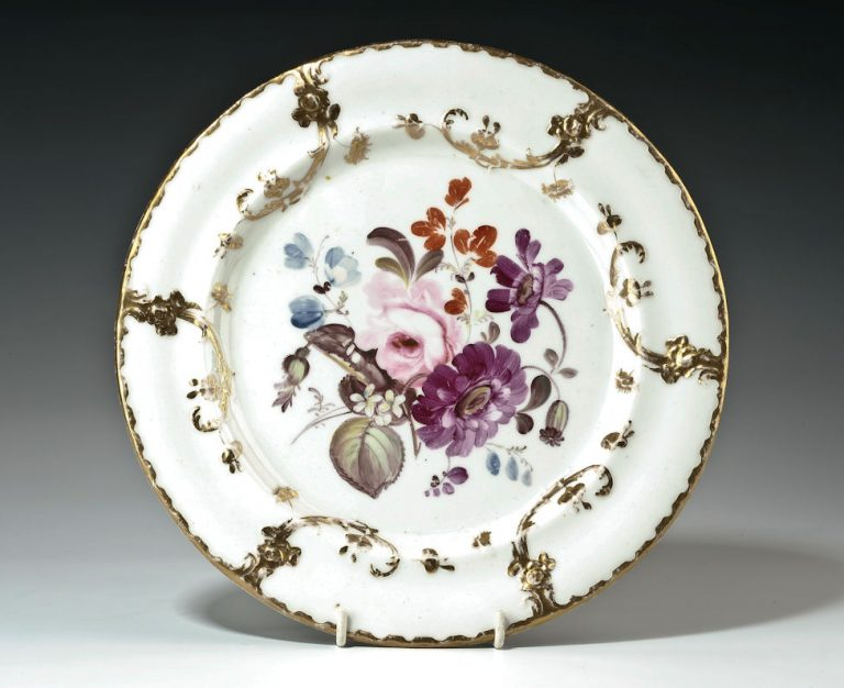 ANTIQUE CONTINENTAL PORCELAIN PLATE PAINTED FLOWERS
