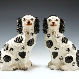 PAIR OF ANTIQUE STAFFORDSHIRE DISRAELI SPANIELS