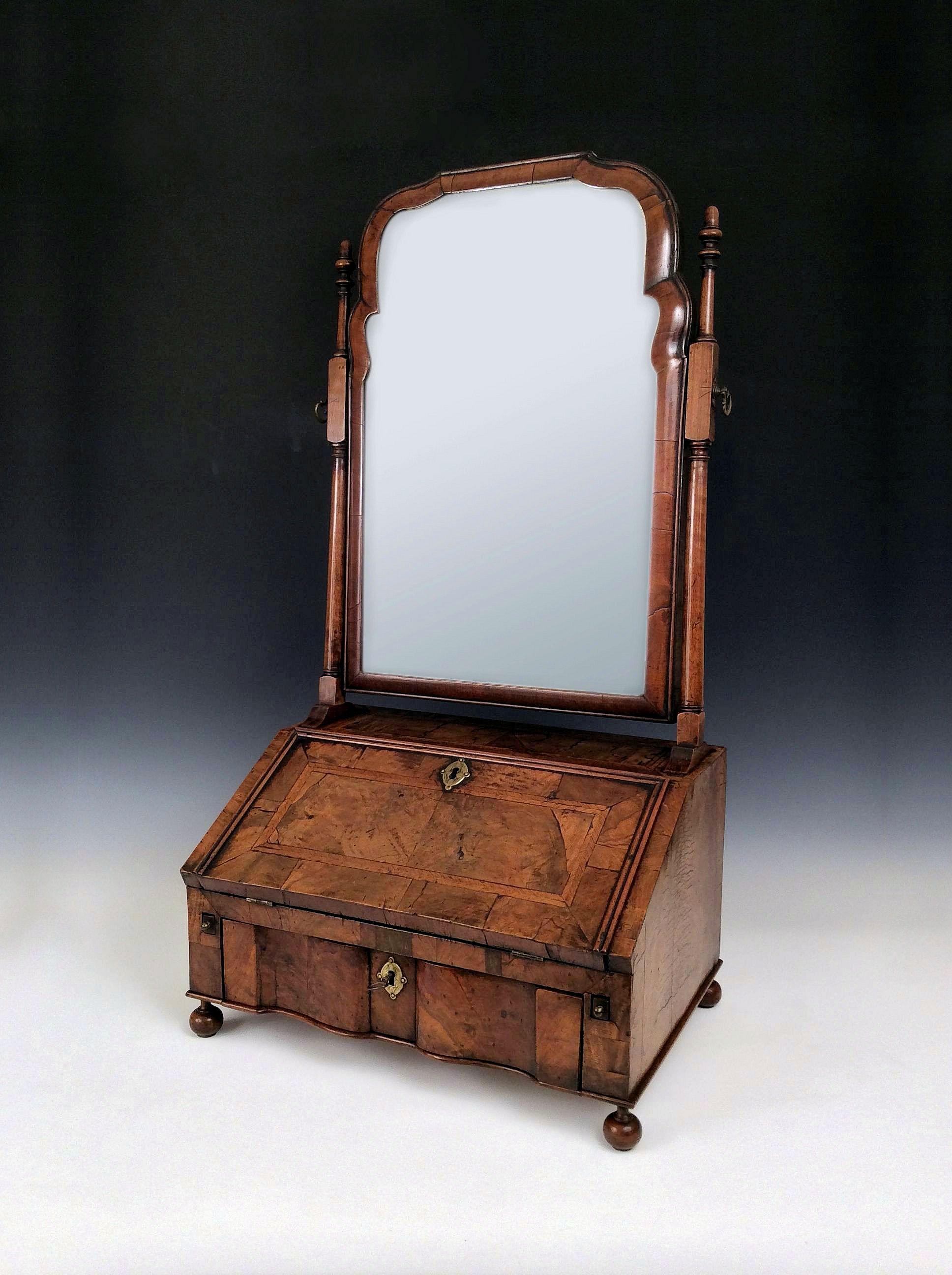 queen anne mirror white rare antique queen anne walnut table bureau dressing mirror