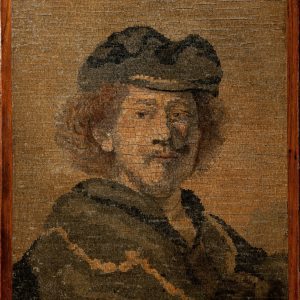 ANTIQUE MICRO MOSAIC PANEL SELF PORTRAIT OF REMBRANDT
