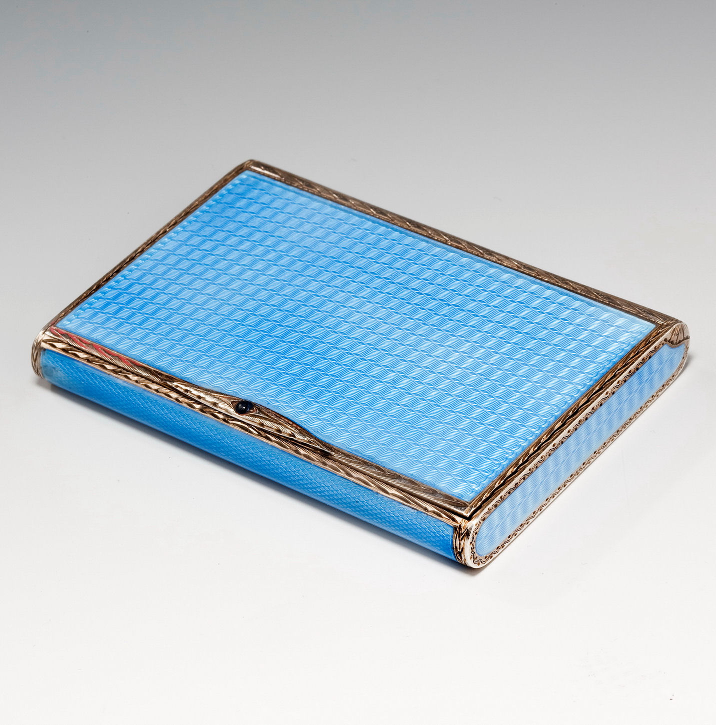 ANTIQUE ENAMEL AND SILVER CARD CASE