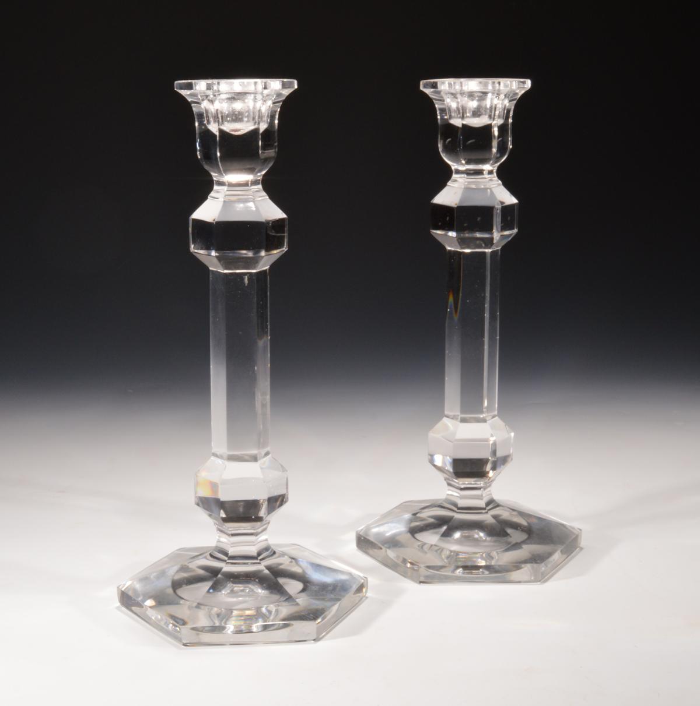 ANTIQUE PAIR VAL ST LAMBERT GLASS CANDLESTICKS