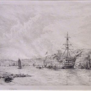 WILLIAM LIONEL WYLLIE - ETCHING - HMS BRITANNIA DARTMOUTH