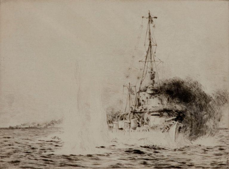 WILLIAM LIONEL WYLLIE - ETCHING - HMS CHESTER