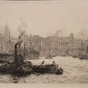 WILLIAM LIONEL WYLLIE - ETCHING - CUSTOMS HOUSE LONDON